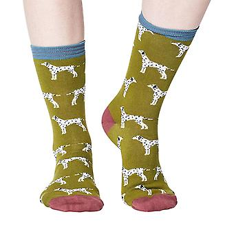Dalmatian women's super-soft bamboo crew socks in olive | By Thought