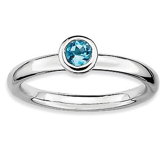 Sterling Silver Bezel Polished Rhodium-plated Stackable Expressions Low 4mm Round Blue Topaz Ring - Ring Size: 5 to 10