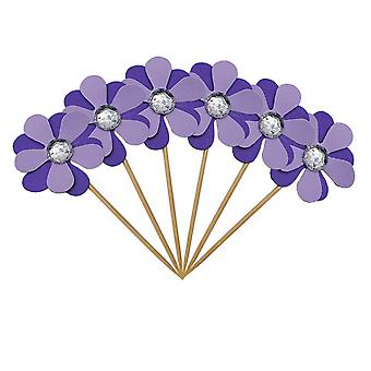 6PC flimmer blomma kronblad Cake Toppers lila