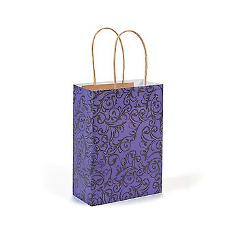 12 Medium Purple & Black Kraft Bags for Gifts or Crafts - 230mm Tall