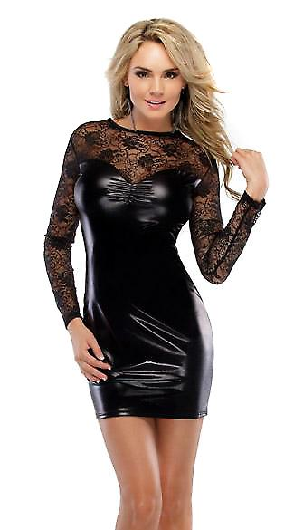 Waooh 69 - Clubwear Mini Dress With Lace Black Missa