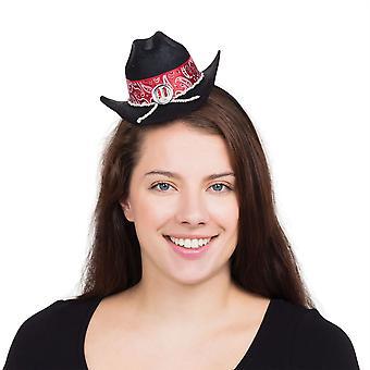 Cowboy Hat Mini Black on H/Band