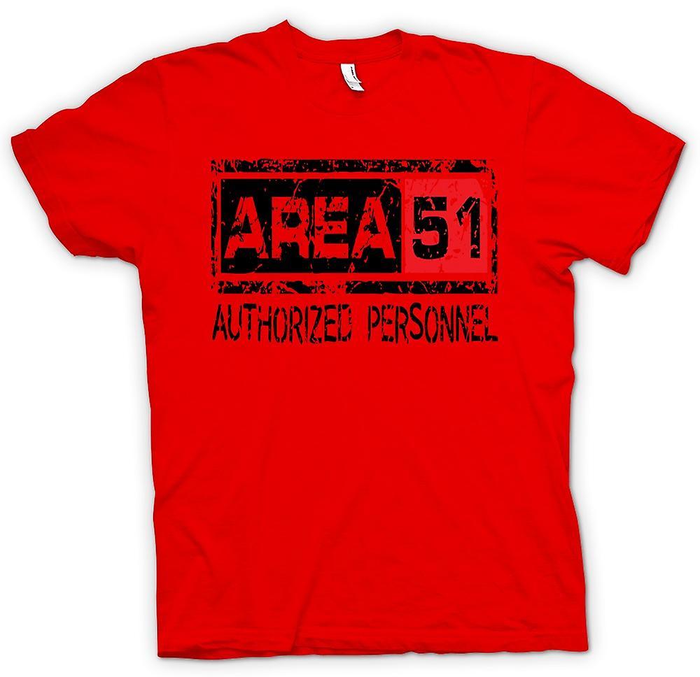 T-shirt des hommes - Zone 51 Personnel Autorisé - UFO drôle étrangers