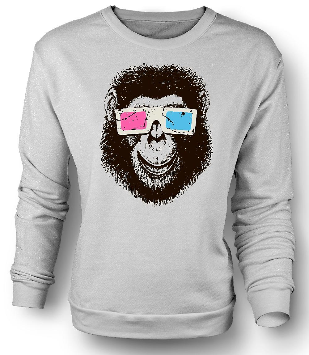 Mens Sweatshirt Affe Ape 3D-Brille - coole Grafik-Design