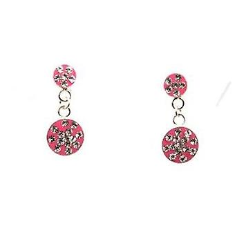 TOC Girls Sterling Silver Crystal Set Pink Round Drop Earrings