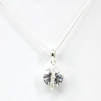 925 Silver Fancy Cubic Zirconia Pendant on 16