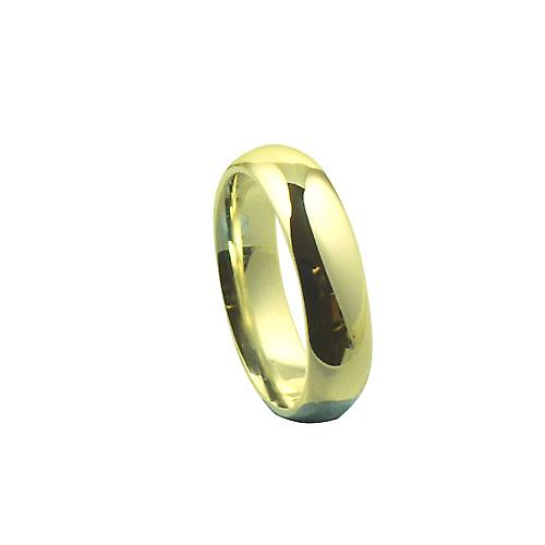 18ct yellow gold 6mm plain Court wedding ring