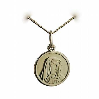 18ct Gold 13mm round Our Lady of Sorrows Pendant with a curb Chain 20 inches
