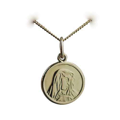 18ct Gold 13mm round Our Lady of Sorrows Pendant with a curb Chain 16 inches Only Suitable for Children