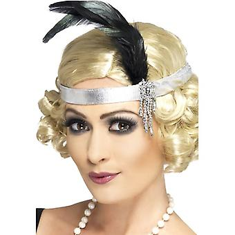 Womens 1920er Jahren Silber Satin Charleston Stirnband Fancy Dress Zubehör