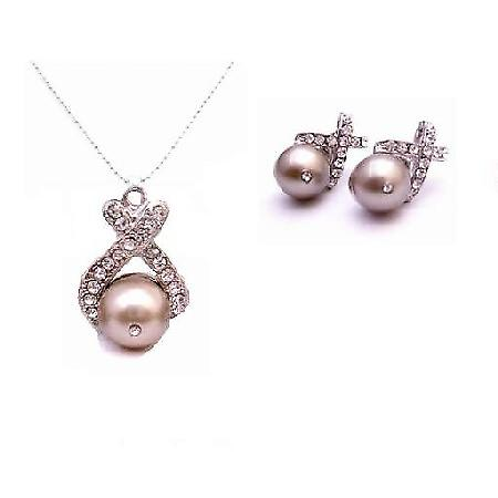 Affordable Jewelry Excellent Swarovski Platinum Champagne Necklace Set