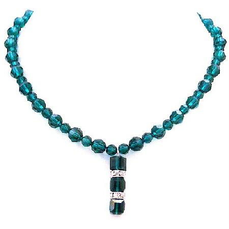 Emerald Crystal Round Bead Genuine Swarovski Crystal Necklace Sophisticate Gift