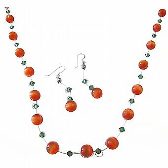 Ensemble de bijoux d'oeil de chat rouge w / Turmarine cristaux Swarovski Collier Set