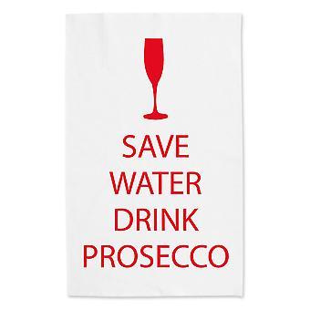 Сохранить воду напиток Просекко белым полотенцем красный текст