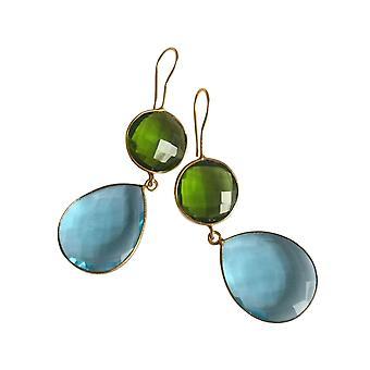 Boucles d'oreilles Gemshine toppaz bleu et peridot gouttes en 925 argent ou or plaqué