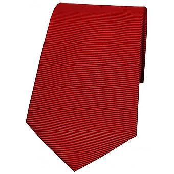 David Van Hagen Horizontal Ribbed Polyester Tie - Red