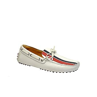 Car Shoe White Leather Loafers