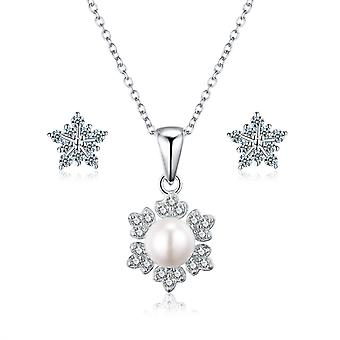 """925 Sterling Silver """"snowflake"""" Pearl Necklace & Stud Earring Set"""