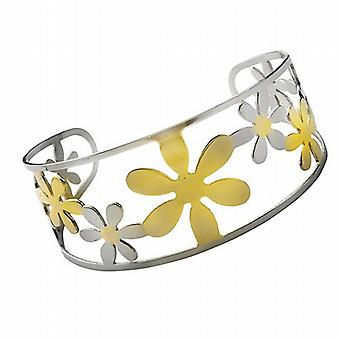 Stainless Steel & Goldtone Flower Wide Cuff Bangle - The Olivia Collection