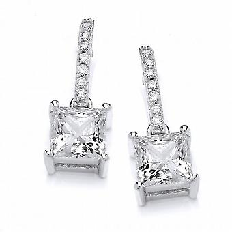 Cavendish French Delicate Square CZ Solitaire Earrings