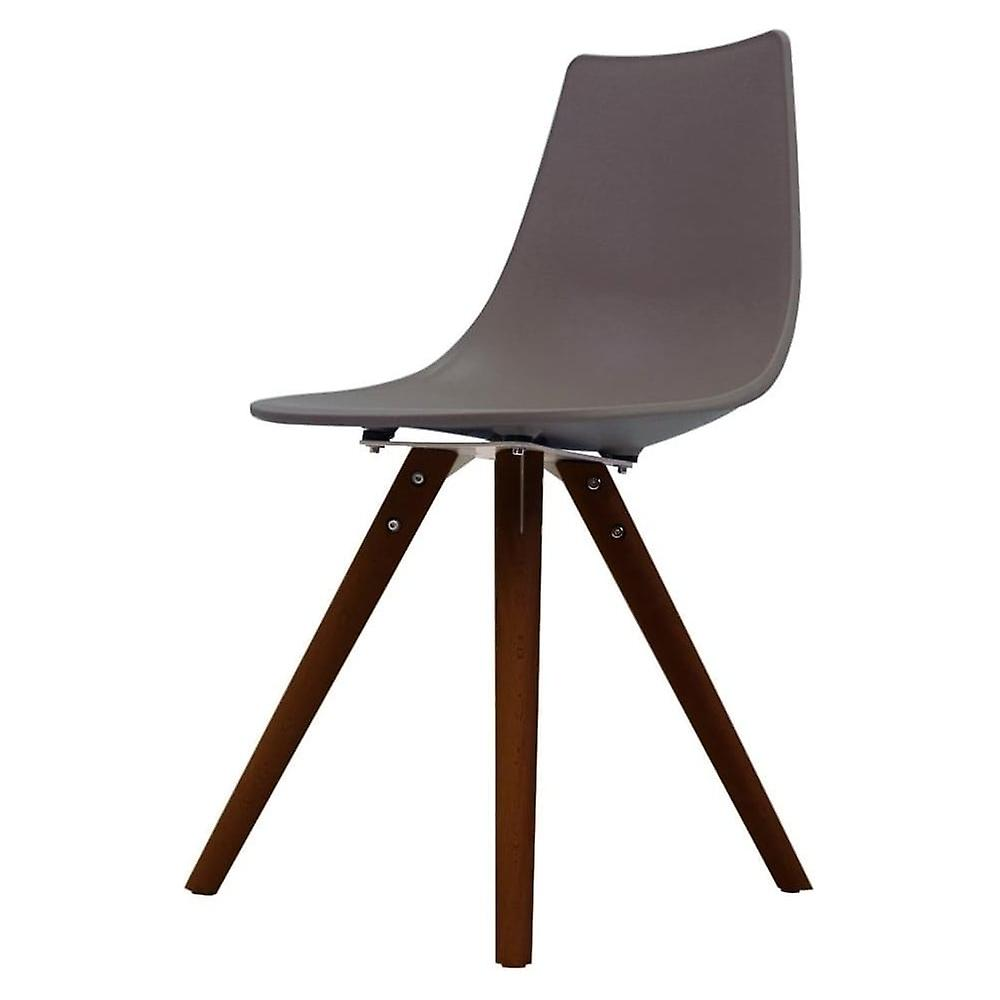 Fusion Living Iconic Slate marron Plastic Dining Chair With Dark bois Legs