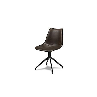 Furnhouse Isabel Dining Chair, Marrone scuro, Base metallica, 47x55x84 cm, Set di 2