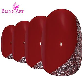 False nails by bling art red glitter oval medium fake acrylic nail tips with glue