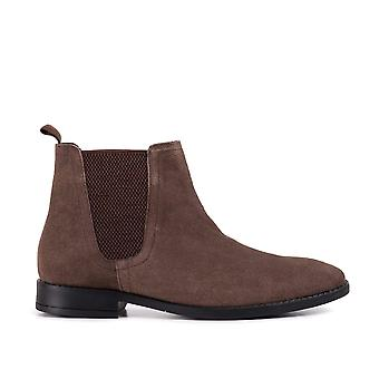 Mens brown square toe chlesea boot