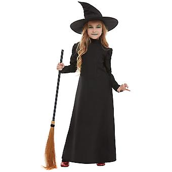 Evil Witch Costume for Girls Black with Dress and Hat Children's Costume