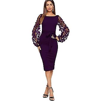 Purple applique mesh sleeve midi dress