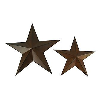 Rust Brown Barn Star Wall Sculptures Primitive Decor 2 Piece Set