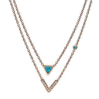 Fossil Chain with Women's Pendant in Stainless Steel with Round Cubic Zirconia JF02644791