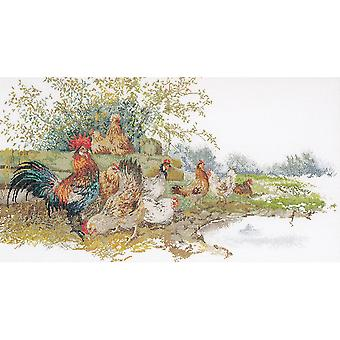 Chickens On Aida Counted Cross Stitch Kit 26 3 4