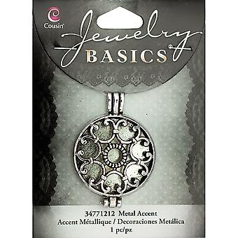 Jewelry Basics Metal Accent 1/Pkg-Silver Filigree Locket JBMA1-1212