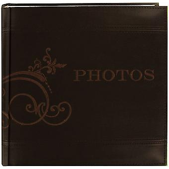 Embroidered Scroll Leatherette Brown Photo Album 8