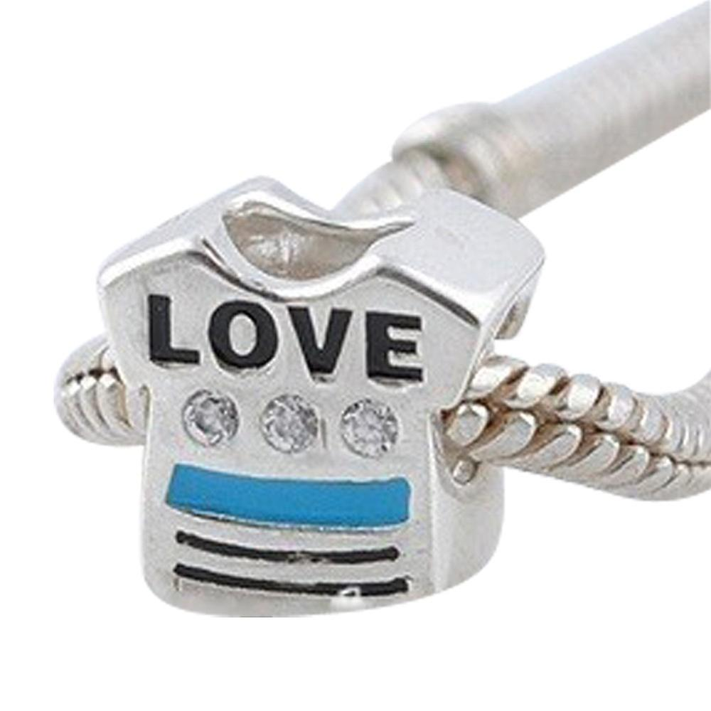 Sterling silver charm, Love T-shirt SZ3336