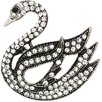 Broscher Store antika Silver och tydlig kristall eleganta Swan brosch