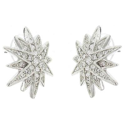 Kenneth Jay Lane Silver and Crystal Starburst Stud Earrings