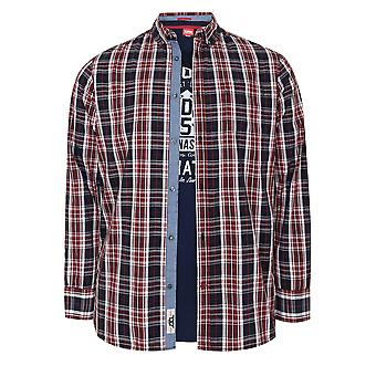 D555 Red, White & Navy Checked Shirt & Printed T-Shirt Combo - TALL