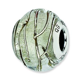 Sterling Silver Textured Antique finish Italian Murano Glass Reflections Clear Silver Striped Italian Murano Bead Charm