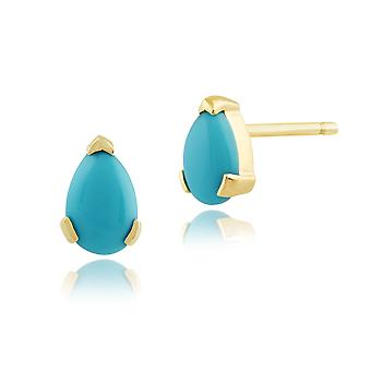 Gemondo 9ct geel gouden 0.62ct Pear Turquoise Stud Earrings