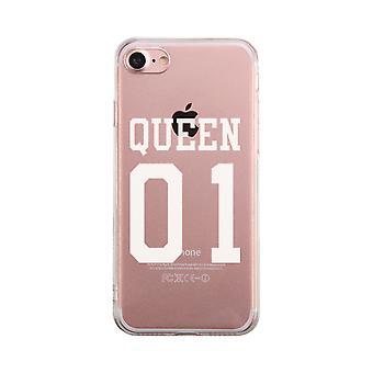 Queen01 透明なカップル携帯電話に一致するケースかわいいクリア Phonecase