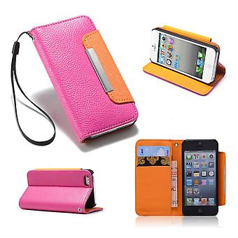 Stand Book case cover for Apple iPhone 5 5S SE + stylus - Hot Pink