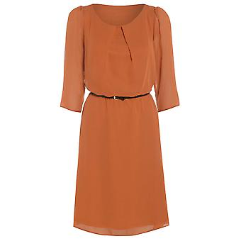 Womens belted flowy chiffon dress DR880-Orange-16
