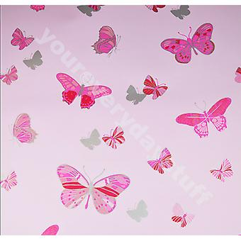 Butterfly Wallpaper Pink Metallic Silver Girls Bedroom Washable Debona