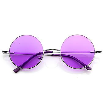 Lennon Style Round Circle Metal Sunglasses w/ Color Lens Tint