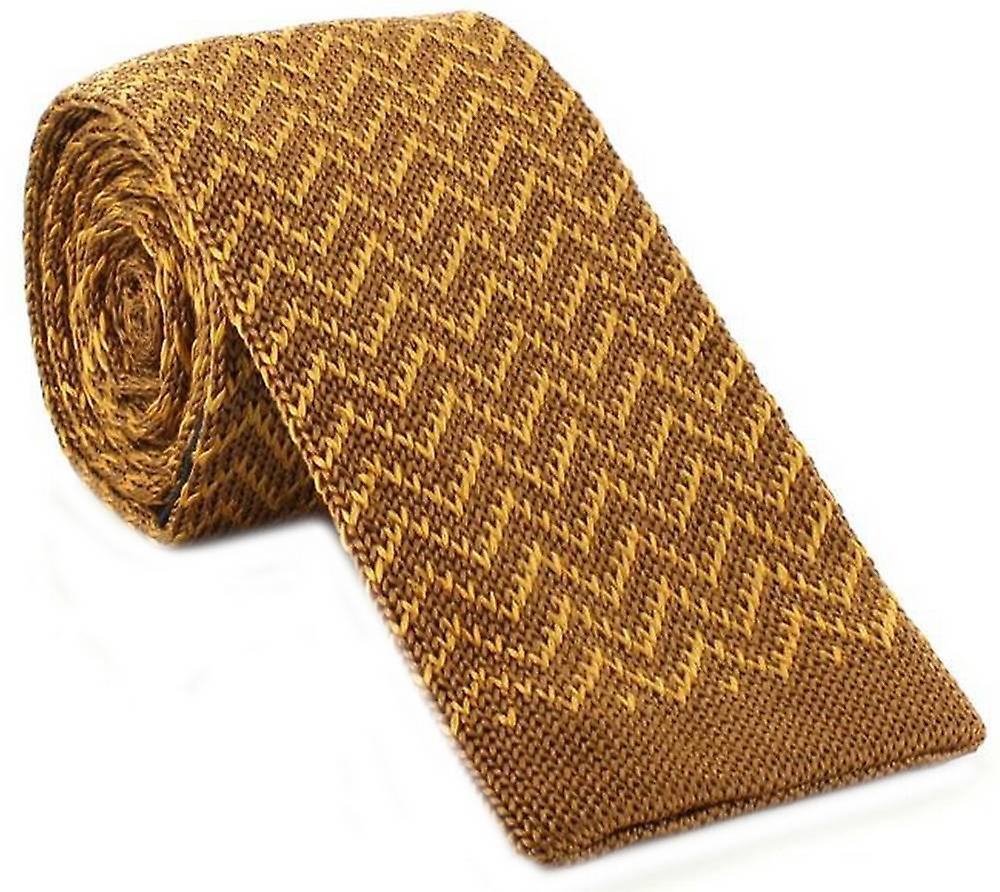 Michelsons of London Zig Zag Silk Knitted Skinny Tie - Brown/Gold