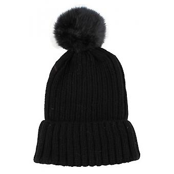 Redlinch fourrure Bobble Beanie - noir