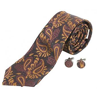 Knightsbridge Neckwear Floral Tie and Cufflinks Set - Black/Gold
