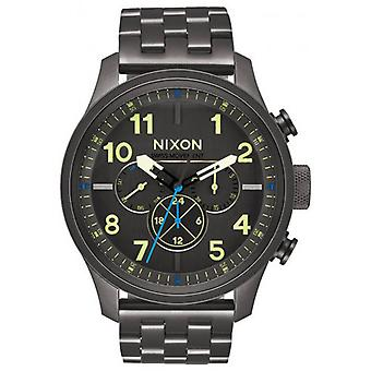 Nixon Safari Dual Time Watch - Gunmetal grau/hell